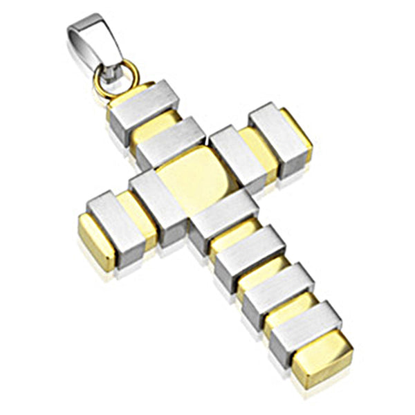 Spikes 316L Steel Gold IP Two Toned Graph Lined Cross Pendant