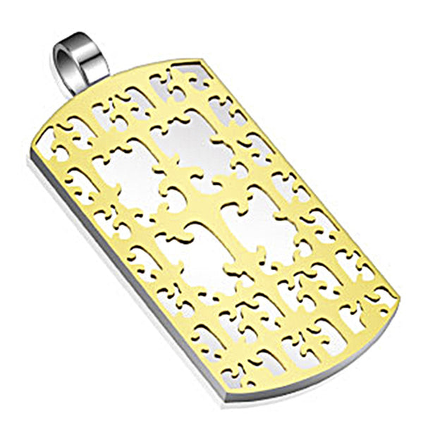 Spikes 316L Steel Gold IP Vine Lattice Dog Tag Pendant