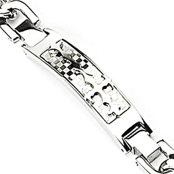 SPIKES 316L Stainless Steel Bracelet with Checkered Background & Steel Tribal Cross