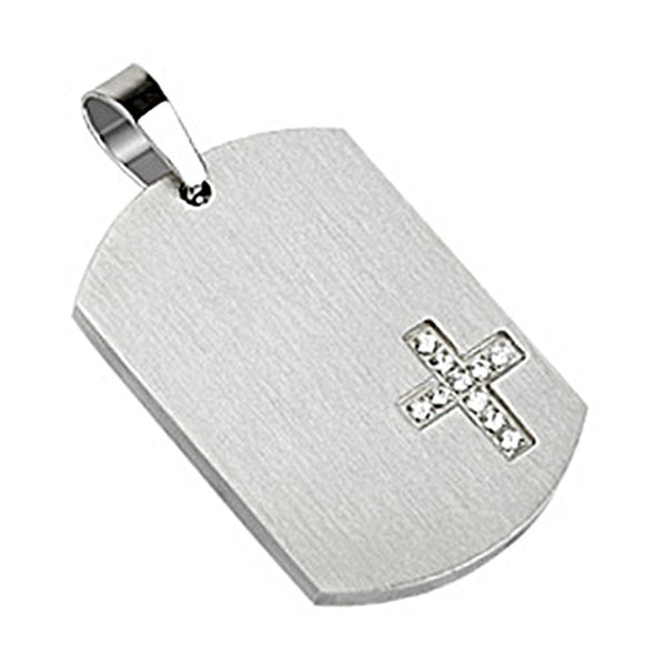 Spikes 316L Steel CZ Stone Corner Cross Dog Tag Pendant