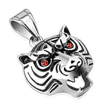 Spikes 316L Steel Red CZ Stone Eyed Tiger Mask Pendant