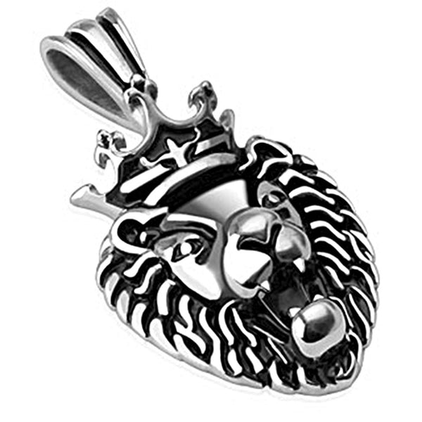 Spikes 316L Steel Black Oxidized Crowned Lion Pendant