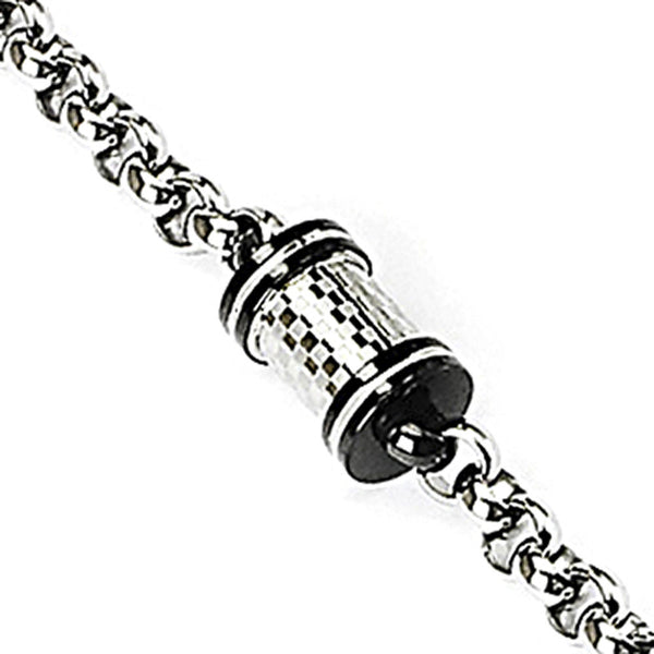 SPIKES 316L Stainless Steel Bracelet with Round Checkered Cylinder