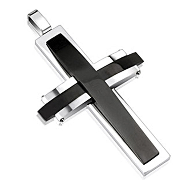 Spikes 316L Steel Two Tone Black IP Dome Cross Pendant