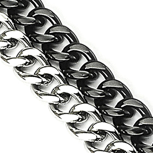 SPIKES 316L Stainless Steel and IP Black Dual Band Bracelet