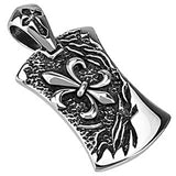 Spikes 316L Steel Black Oxidized Angled Fleur De Lis Dog Tag Pendant