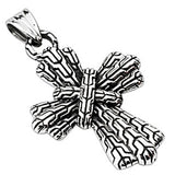 Spikes 316L Steel Textured Aztec Cross Pendant