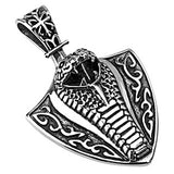 Spikes 316L Steel Black Oxidized Toxic Cobra Shield Pendant