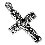 Spikes 316L Steel Black Oxidized Floral Border Cross Pendant