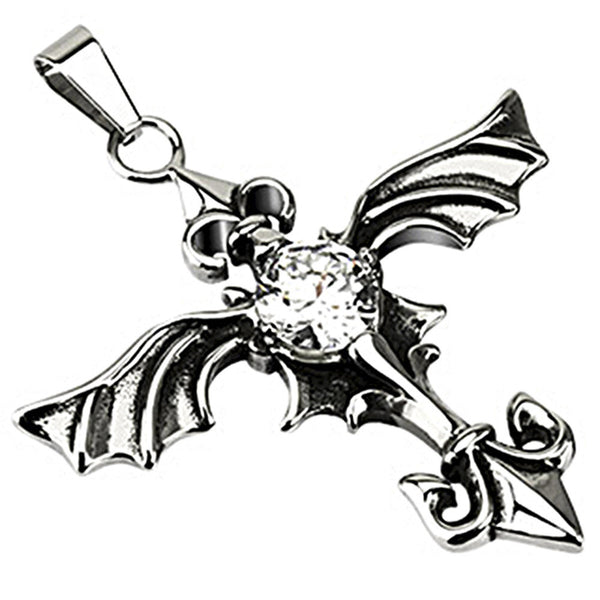 Spikes 316L Steel Spectral Wing Clear CZ Stone Spear Pendant