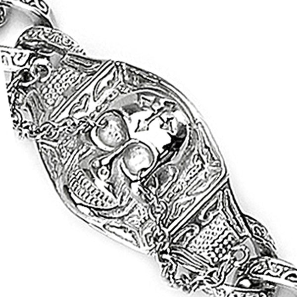 SPIKES 316L Stainless Steel Large Skull Gothic Chain Bracelet
