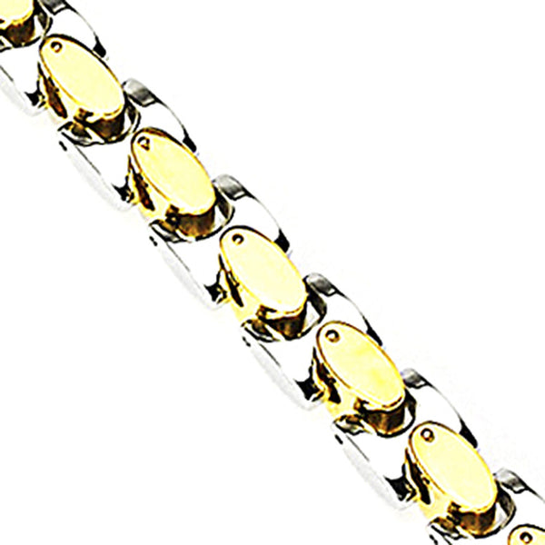 SPIKES 316L Stainless Steel Bracelet with IP Gold Plated Links