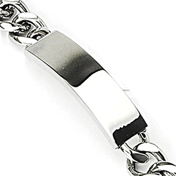 SPIKES 316L Stainless Steel Bracelet with Round Linked Chains & Engraving Plate