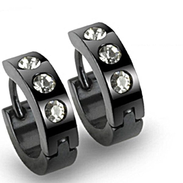 SPIKES 316L Stainless Steel CZ Black Hinged Hoop Earrings