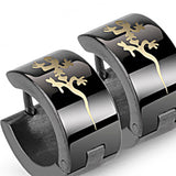 SPIKES 316L Stainless Steel Black Tribal Gecko Hinged Hoop Earrings