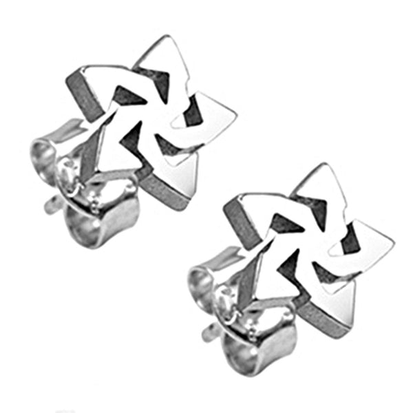 SPIKES 316L Stainless Steel Tribal Star Ear Stud Earrings