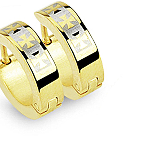 SPIKES 316L Stainless Steel Gold Celtic Cross Hinged Hoop Earrings