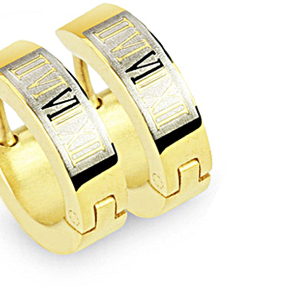 SPIKES 316L Stainless Steel Gold Roman Numeral Hinged Hoop Earrings