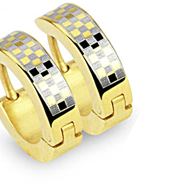 SPIKES 316L Stainless Steel Gold Checker Board Hinged Hoop Earrings