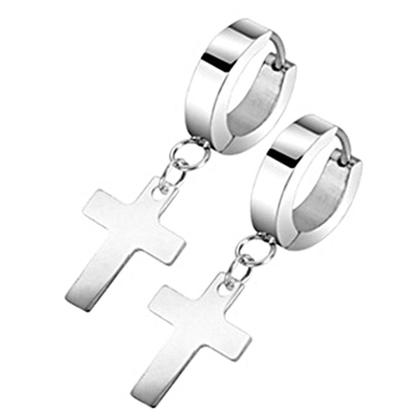 SPIKES 316L Stainless Steel Hinged Hoop Cross Dangle Earrings