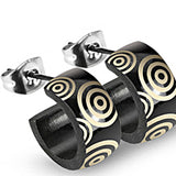 SPIKES 316L Stainless Steel Black Geometric Circle Hoop Earrings