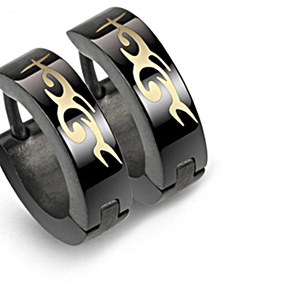 SPIKES 316L Stainless Steel Black Tribal Hinged Hoop Earrings