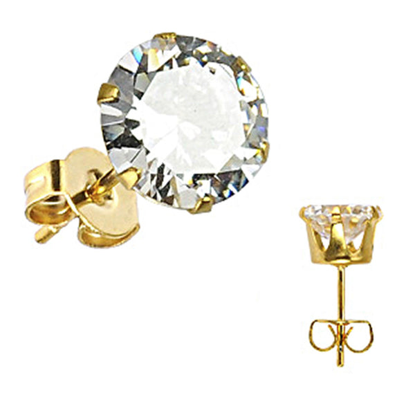 SPIKES 316L Stainless Steel Gold Plated CZ Stud Earrings 3mm to 10mm