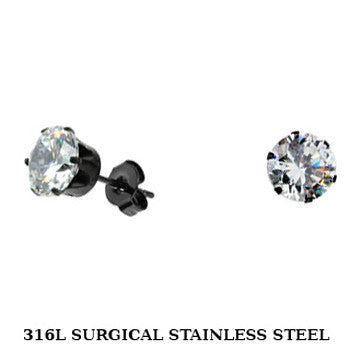 SPIKES 316L Stainless Steel Black IP Plated CZ Stud Earrings 3mm to 10mm