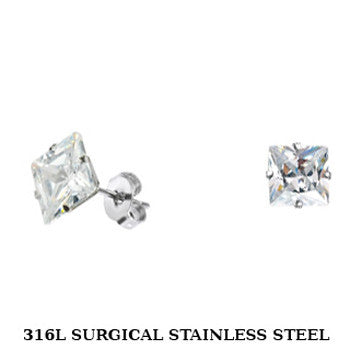 SPIKES 316L Stainless Steel Princess CZ Stud Earrings 3mm to 10mm