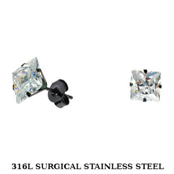 SPIKES 316L Stainless Steel Black IP Plated Princess CZ Stud Earrings 3mm to 10mm