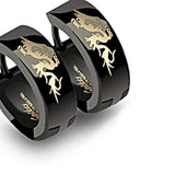 SPIKES 316L Stainless Steel Black Dragon Hinged Hoop Earrings