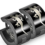 SPIKES 316L Stainless Steel Black Gecko Hinged Hoop Earrings