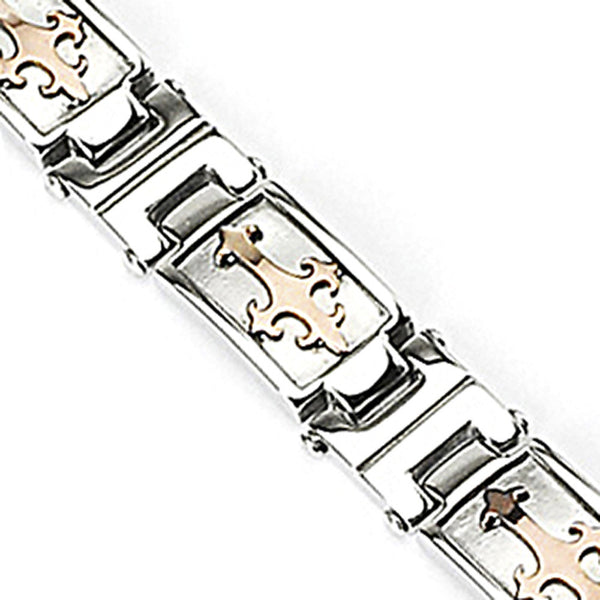 SPIKES 316L Stainless Steel Bracelet with Coffee Gold Tribal Cross Links