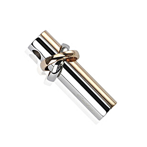 SPIKES 316L Stainless Steel 2 Tone Half IP Gold Cylinder with Cosmic Double Ring Pendant