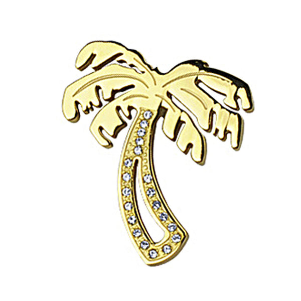 SPIKES 316L Stainless Steel PVD Gold Gem Paved Palm Tree Pendant