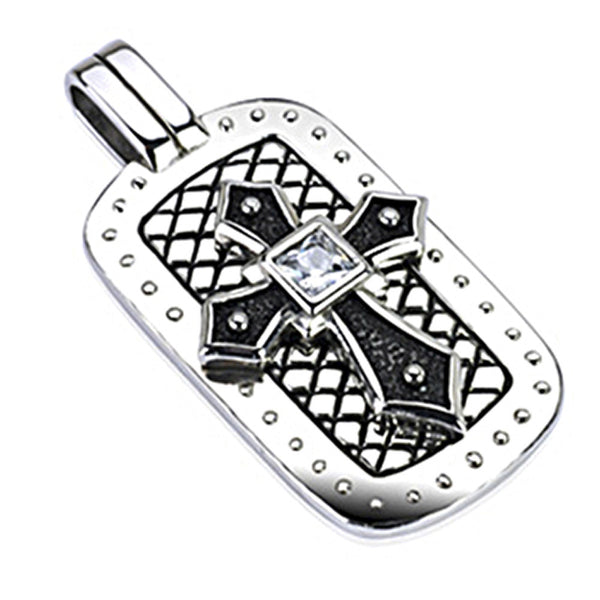 SPIKES 316L Stainless Steel Medieval Black Casted Cross with Square CZ Center Dog Tag Pendant
