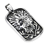 SPIKES 316L Stainless Steel Medieval Lion Design Casted Dog Tag Pendant