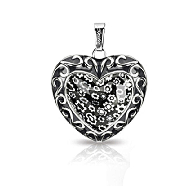 SPIKES 316L Stainless Steel Black Casted Heart Pendant with Pandora Multi-Flower Heart Center