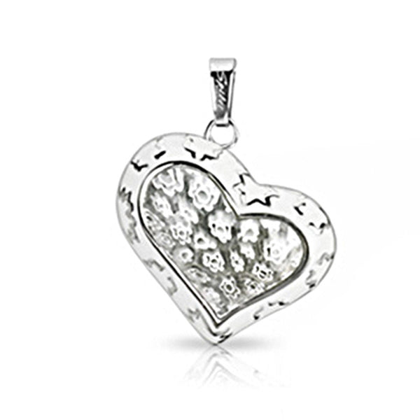 SPIKES 316L Stainless Steel Heart Pendant with White Murano Transparent Multi-Flower Heart Center