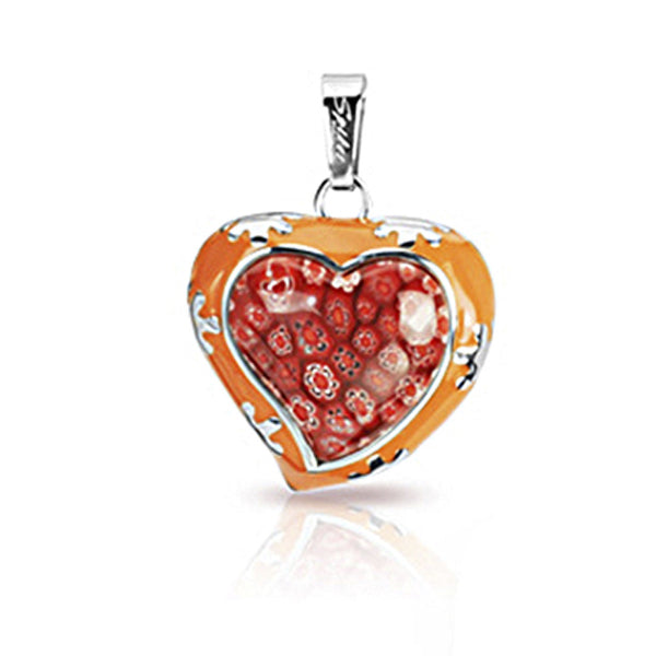 SPIKES 316L Stainless Steel Orange Casted Heart Pendant with Red Murano Glass Multi-Flower Heart Center Pendant