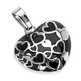 SPIKES 316L Stainless Steel Black Onyx Multi-Hearts in a Heart Pendant