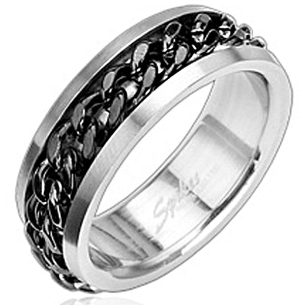 Spikes 316L Stainless Steel Black Chain Ring