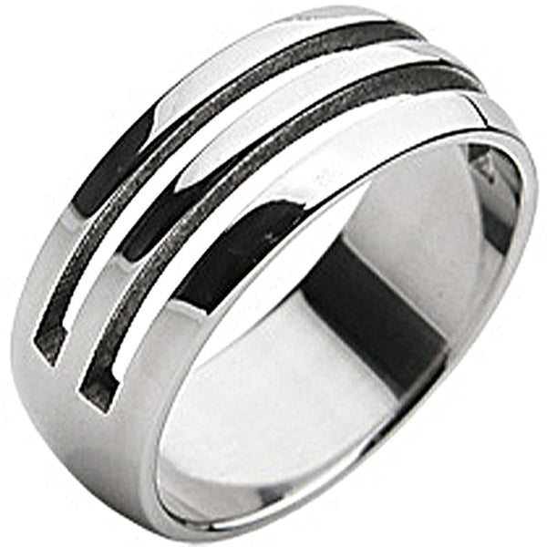 SPIKES 316L Stainless Steel Striped Holes Ring