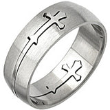 SPIKES 316L Stainless Steel Carved Cross Ring