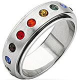 SPIKES 316L Stainless Steel Gay Pride Ring