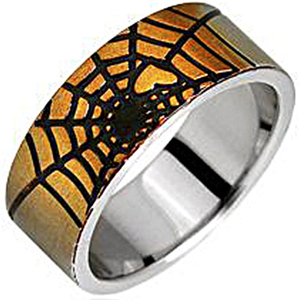 SPIKES 316L Stainless Steel Spider Web Ring