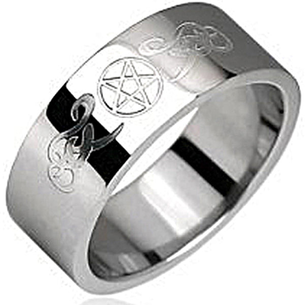 SPIKES 316L Stainless Steel Pentacle symbol Ring
