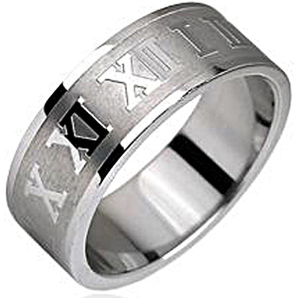 SPIKES 316L Stainless Steel Roman Numerals Ring