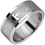 SPIKES 316L Stainless Steel Pot Leaf Ring