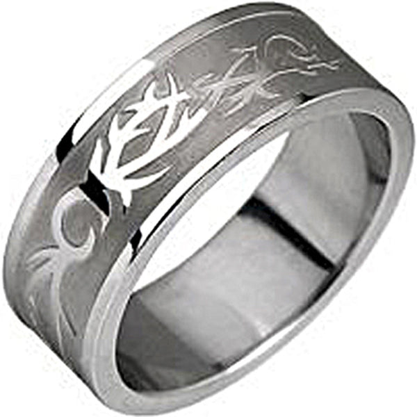 SPIKES 316L Stainless Steel Tribal Circle Ring